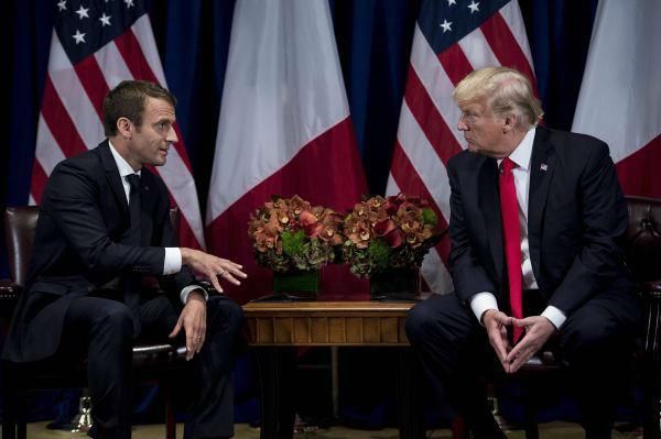 3 2017年9月19日,在美国纽约,美法总统探讨《巴黎协定》和伊朗核问题。(新华社)