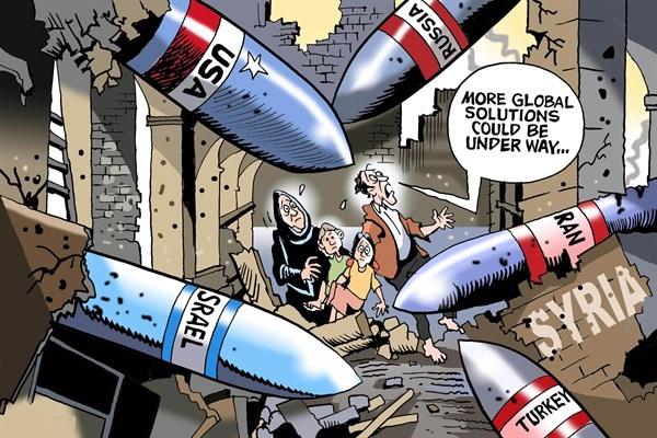 """解决方案?来自美国、俄罗斯、伊朗、土耳其和以色列的导弹都投入了叙利亚废墟中,躲在中间的一家人不知所措,一家之主惊慌地说:""""更多全球解决方案也许正在路上……""""(原载美国政治漫画网)"""