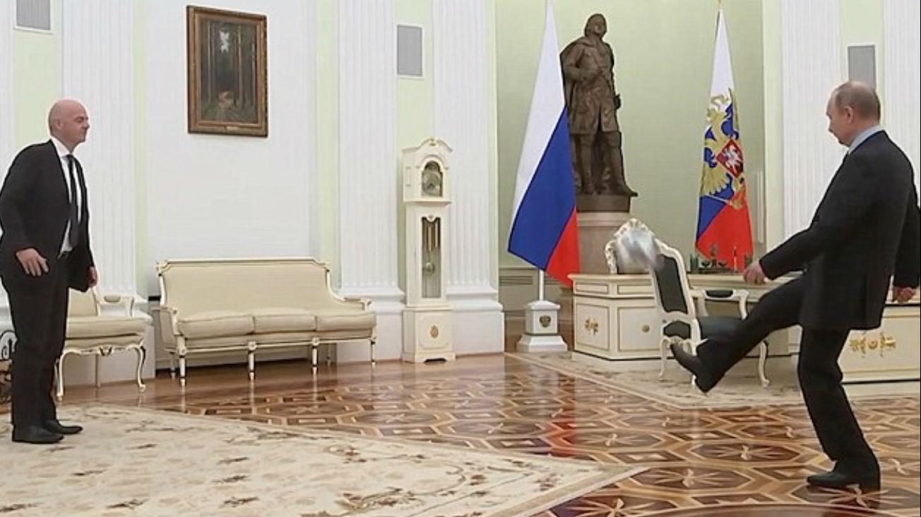 外媒:因凡蒂诺与普京亲自秀球技宣传俄罗斯世界杯