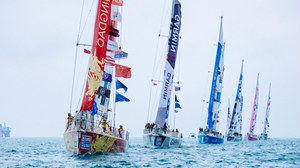 """克利伯环球帆船赛11支船陆续抵达青岛,""""青岛号""""在第8赛程开赛阶段表现平平"""