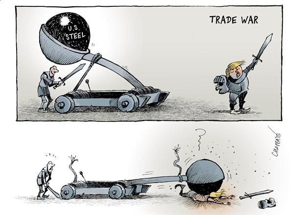 """自食其果 美国总统特朗普发动贸易战,却惨遭""""美国钢铁""""重锤的打击。特朗普8日宣布对进口钢铝产品征收惩罚性关税,关税措施将于23日正式生效。(原载美国政治漫画网)"""
