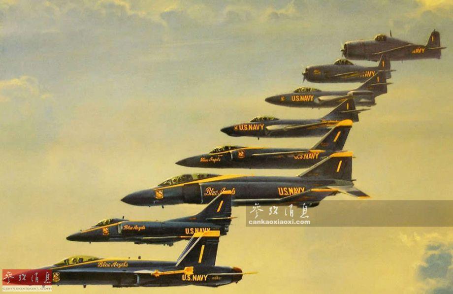 """本图展示了""""蓝天使""""从初创时期(1946年),一直到现在使用过的所有表演机型,均为美海军航空兵不同历史时期的主力机型,包括了F6F地狱猫、F8F熊猫、F9F黑豹、F9F-8美洲狮、F11F-1虎、F-4J鬼怪II、A-4F 天鹰II以及F/A-18""""大黄蜂""""。"""