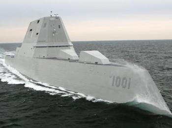 """美海军接收第二艘""""科幻""""隐身驱逐舰 第三艘在建中"""