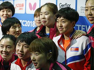 朝鲜韩国女队合并参加世乒赛余下比赛