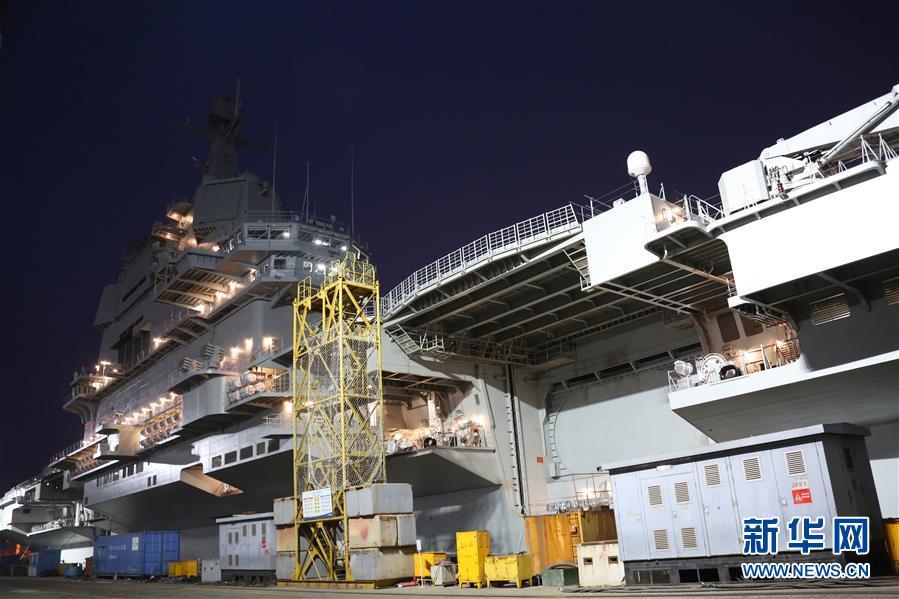 中国第二艘航母完成首次出海试验返回大连