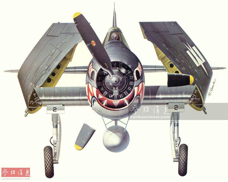 图为从艺术家从正面角度绘制的同架F6F3战机的机头涂鸦,很有压迫感。