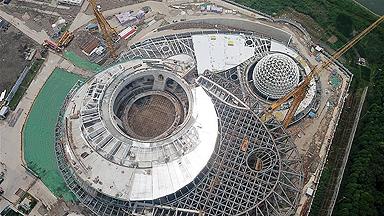 上海天文馆初具规模 主体建筑大悬挑支撑结构开始卸载