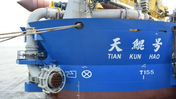 """日媒:中国""""造岛神器""""完成海试 每小时挖泥6000立方米"""