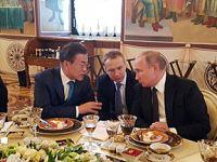 青瓦台公开文在寅访俄晚宴花絮照