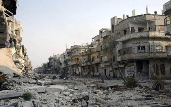 图为被战火摧毁的一处叙利亚街区