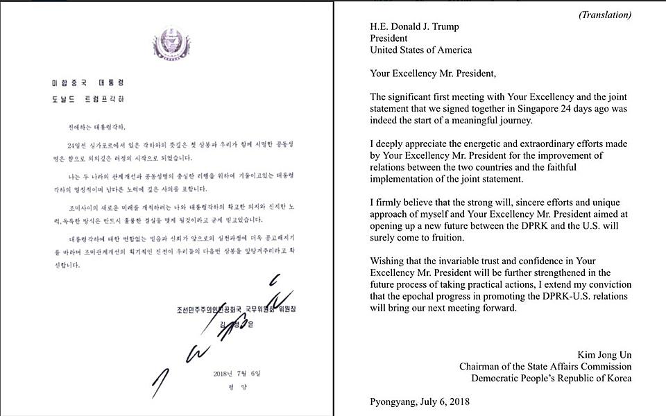 当地时间7月12日,美国总统特朗普在其个人社交平台晒出了朝鲜最高领导人金正恩给他的来信。特朗普评判称,这是一封友善的来信,(美朝关系)正在取得巨大进展。来信落款时间为7月6日。原文为朝鲜语,附有英文翻译。在信中,金正恩第一肯定了朝美领导人6月12日在新加坡进行的会面,称此次会面以及签署的联合声明开启了一段富有意义的旅程。金正恩也感谢了特朗普为改善朝美关系所作出的热情而特殊的努力。8