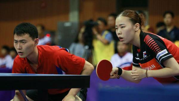 国际乒联世界巡回赛韩国公开赛开打,韩朝联队亮相