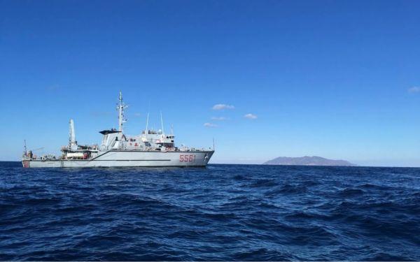 发现潜艇残骸的意大利扫雷艇。