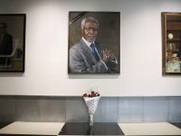 联合国总部向已故联合国前秘书长科菲·安南志哀