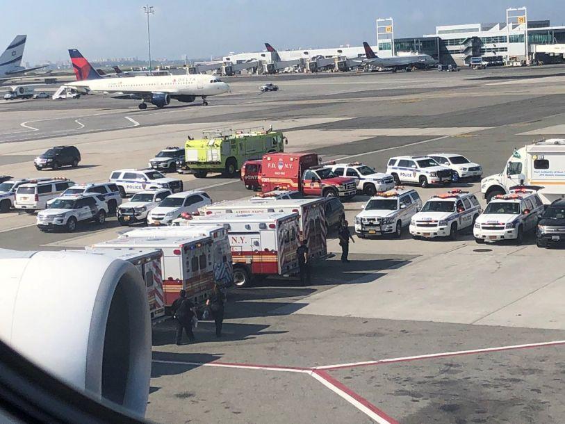 据报道,这架阿联酋航空公司的航班当天上午约9时10分降落在纽约肯尼迪机场。据美国疾病控制和预防中心消息,约100名机上人员自称出现咳嗽、发烧等症状。该中心及其他相关部门对这架空客A380客机上所有人员逐个进行检查。