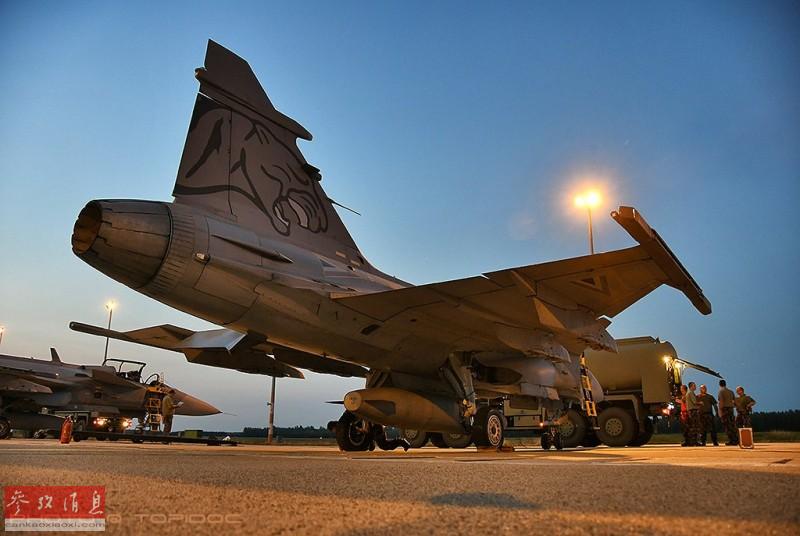"""停机坪上的""""鹰狮""""战机,""""美洲狮""""徽标十分醒目。"""