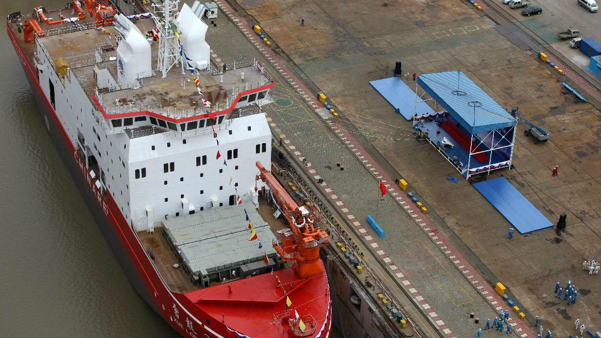 港媒关注中国国产破冰船下水:向极地勘探迈出新一步