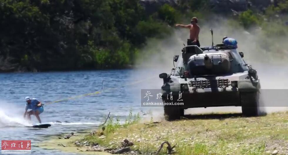 """近日,一个名为""""DriveTank""""的美国军事娱乐中心放出了宣传视频,其中罕见出现了美国军迷使用德制""""豹1""""A4主战坦克牵引在河中冲浪的画面,颇有视觉冲击力。本图集就此解读。53"""
