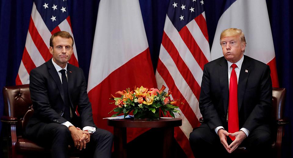 """特朗普会见法国总统马克龙:二人""""轻轻地握了手"""""""