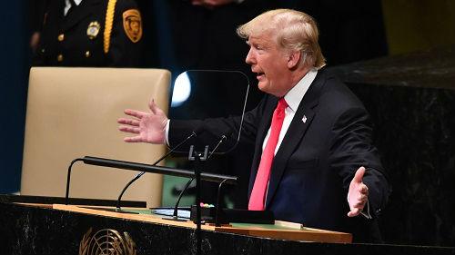 """特朗普联大演讲引嘲笑 外媒:""""美国优先""""令美更加孤立"""