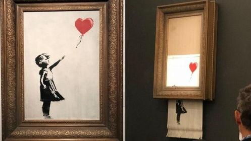 """班克西名画拍卖成交后""""自毁"""" 作者:我悄悄安了碎纸机"""
