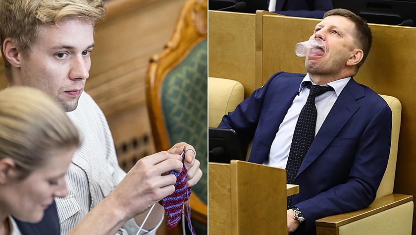 """围观外国议员开会""""吃瓜""""瞬间 织毛衣打扑克还能再随意点吗?"""