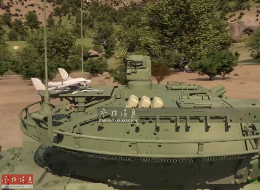"""载机型""""斯特赖克""""A1的最大变化在于在炮塔后方增加了两套无人机相关设备,一个是后方的""""百舌鸟2""""混合无人机起降平台,以及一个九联装""""弹簧刀""""单兵巡飞弹发射器。""""百舌鸟2""""混合无人机和""""弹簧刀""""单兵巡飞弹构成了载机型""""斯特赖克""""A1战车的系统核心,值得一提的是,这两种无人机都是""""现货产品""""。"""
