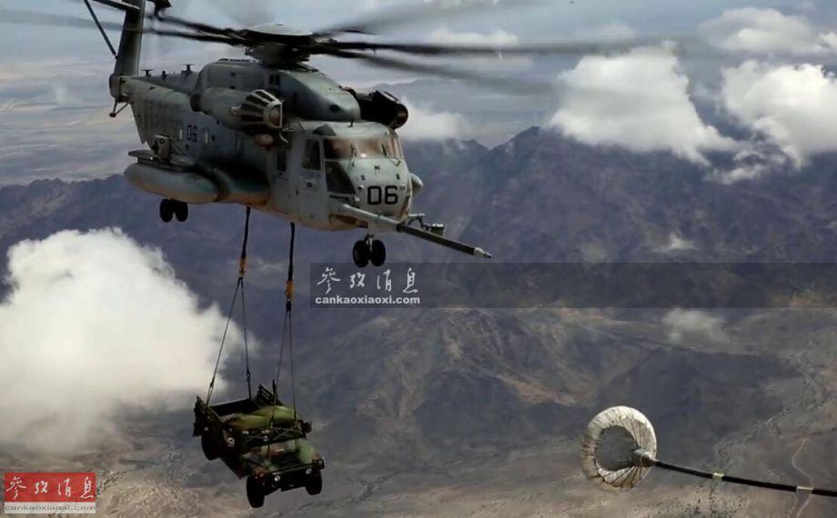 """近日,美海军陆战队的一架CH-53E""""超级种马""""重型运输直升机,在位于亚利桑那州的尤马海军陆战队基地附近空域,在吊运一辆悍马军车的情况下,与一架KC-130J""""大力神""""加油机对接进行了空中加油,场面颇具视觉冲击力,本图集就此为您简析。2"""