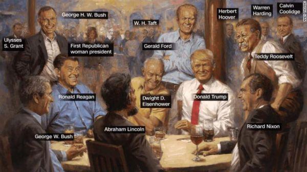 白宫这幅画火了:特朗普与历届美国共和党总统畅饮