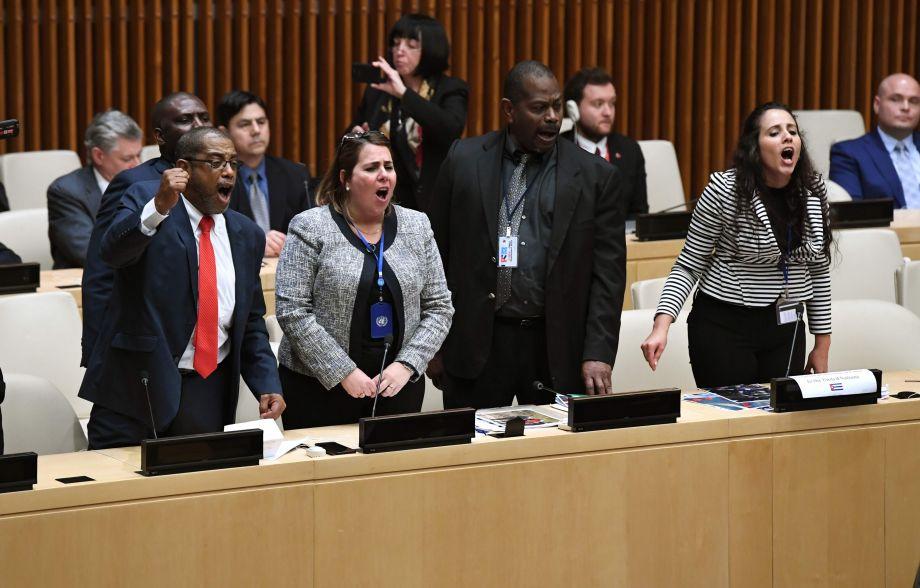 美国指责古巴人权的活动在联合国遭抗议