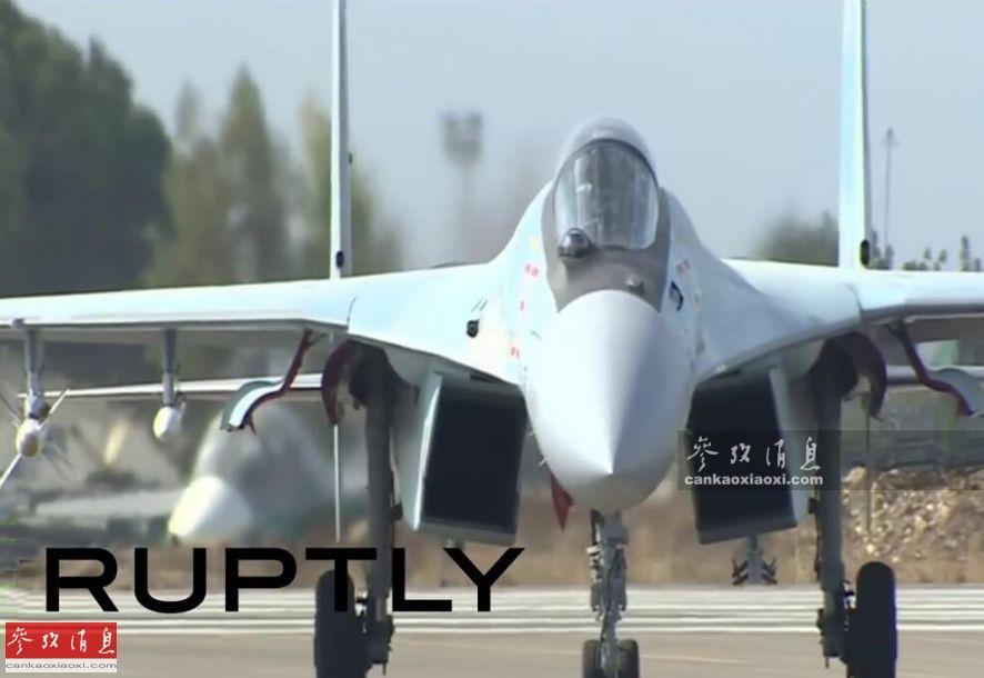 圖為駐敘俄軍配備的蘇-35S戰機視頻截圖。