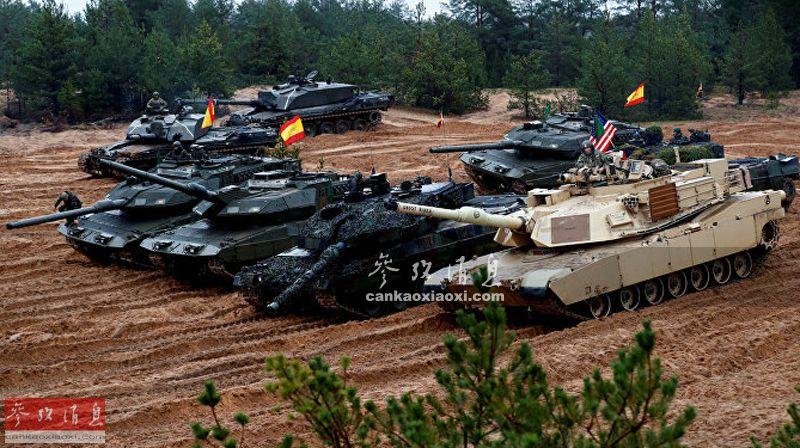 """挥""""钢斧""""向俄挑衅!北约多国坦克打靶"""