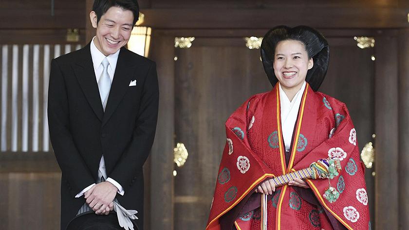 日本公主絢子與平民守谷慧大婚 婚后脫離皇籍