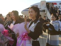 千亿国际886文艺工作者代表团抵达朝鲜访问
