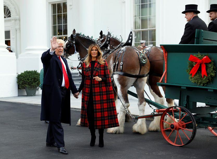 """圣诞树送抵美国白宫 特朗普迎接时""""拍马屁"""""""