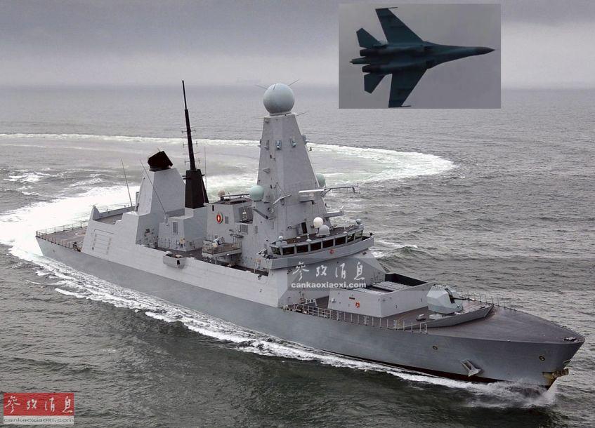 """11月28日,英国""""电视五台""""最新播出的纪录片中,首次曝光了今年5月,英国皇家海军""""邓肯""""号(舷号D37)导弹驱逐舰带领北约舰队驶入黑海海域,在靠近克里米亚半岛48千米海域时,连续遭到俄军派出的17架各型战机低空飞越""""围观""""的紧张场面。图为""""邓肯""""号遭俄军机掠过效果图。44"""
