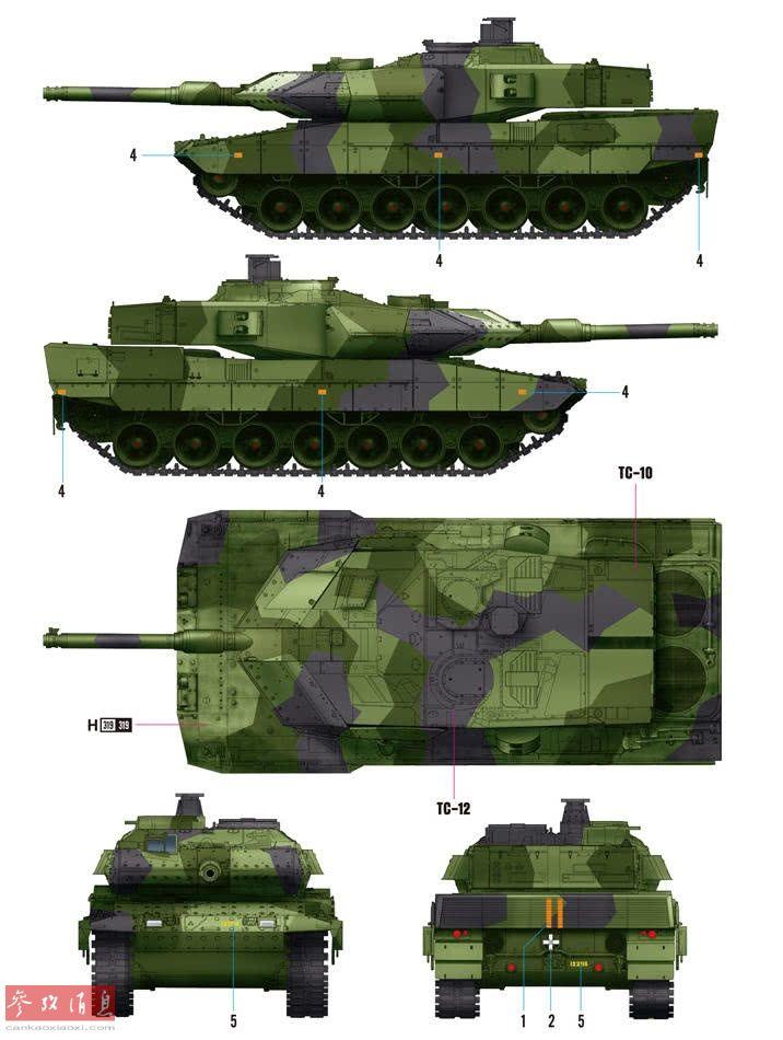 """Strv 122实为德制豹2A5坦克(配备一门莱茵金属44倍径120毫米短身管滑膛炮,与豹2A6的最大区别特征)的瑞典出口型(与其他国豹2A5的最大外形区别是换装了法国GIAT公司的新型六联装Galix多用途烟幕弹发射器),号称是豹2系列中""""火控最先进、防护力最强""""的一款。"""