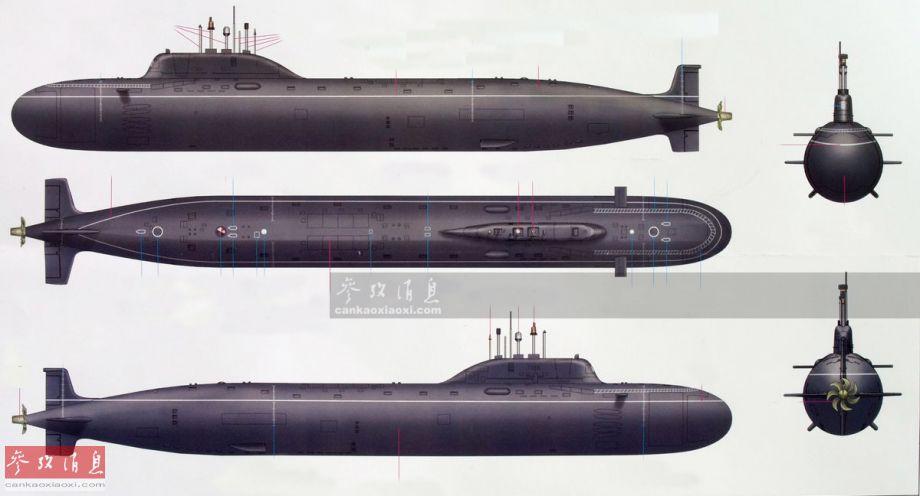 亚森级为俄罗斯研发的第五代多用途攻击型核潜艇,用于替代著名的阿库拉级,最初是将美海军海狼级作为假想敌研发(现已改为针对弗吉尼亚级),全长139米,全宽13米,水下满载排水量1.38万吨,采用钛合金双(耐压)壳艇体设计,极限下潜深度580米。图为亚森级核潜艇多角度视图。