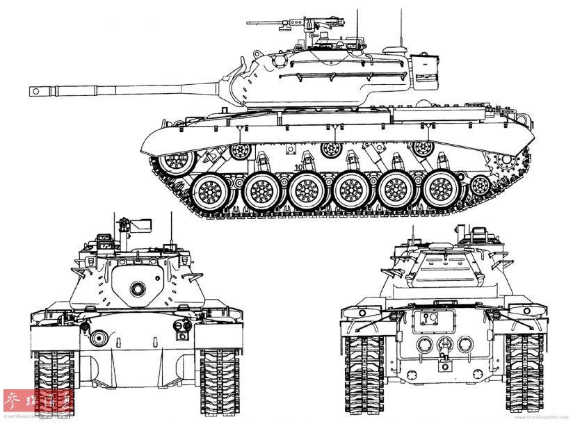 "M47""巴顿""坦克,全车长8.5米(主炮向前时),全宽3.5米,全高3.35米,作战全重46.5吨,配备一门M36型90毫米线膛炮(最大射程2000米,备弹91发),一挺12.7毫米M2重机枪,以及2挺7.62毫米M1919A4机枪。其动力系统采用一台""大陆""公司AV-1790-5B型12V气冷柴油机,最大输出功率810马力,最大时速48千米,最大行程160公里。"