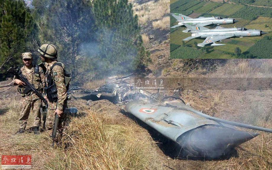 图为巴基斯坦陆军士兵在巴方一侧控制区发现的被击落的印军米格-21 Bison战机残骸。右上小图为印度的米格-21 Bison改进型资料图。