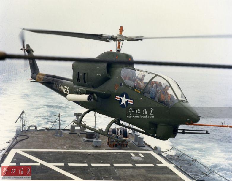 """M197三管20毫米加特林速射炮,实际是通用电气M61六管""""火神""""加特林速射炮的轻量化版本,由美国通用动力公司于20世纪60年代研发, 自1967年一直服役至今。图中美陆战队AH-1J""""海眼镜蛇""""是AH-1系列中最先换装M197机炮的型号。"""