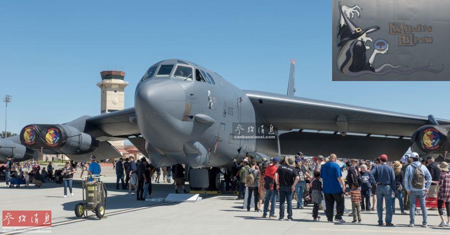"""此次参展的这架B-52H战略轰炸机隶属于美空军第5轰炸机联队,驻地位于北达科他州的米诺特空军基地,单机编号1035,绰号""""女巫的佳酿""""(Witch's Brew),右上图可见单机卡通彩绘,一个手捧蘑菇云的猥琐女巫,颇有戏剧性。"""