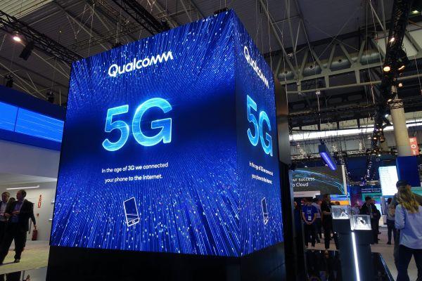 这是2月25日在西班牙巴塞罗那世界移动通信大会上拍摄的高通展厅。