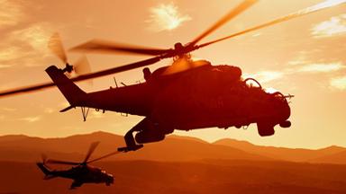從霞光中出擊!多國軍用直升機出動美圖