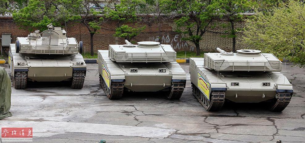 """伊朗陆军展出的新型国产""""佐勒菲卡尔""""主战坦克。"""