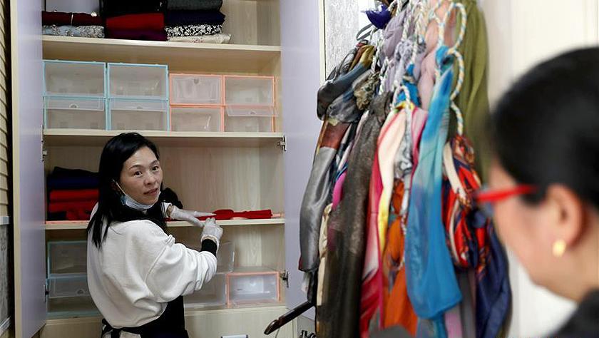 上海:职业收纳师走进社区家庭