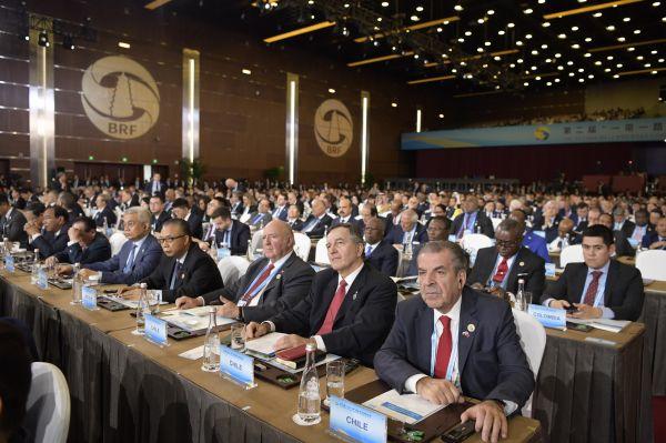 """4月26日,第二届""""一带一路""""国际合作高峰论坛开幕式在北京国家会议中心举行。(新华社)"""
