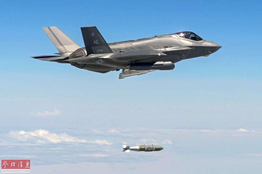 图为2017年,美空军F-35A试射JDAM卫星制导炸弹资料图。