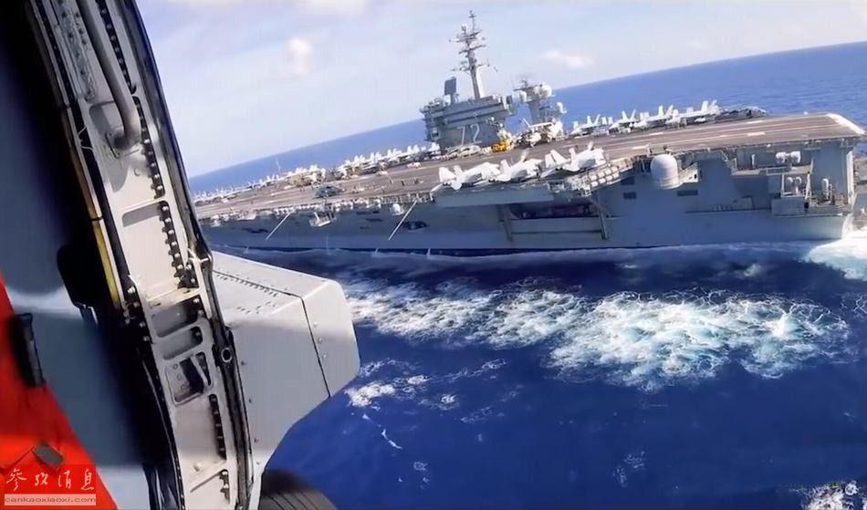 """近日,美海军""""林肯""""号(CVN-72)核动力航母公布了一组进入波斯湾前,随舰部署的第79海上打击直升机中队的MH-60K""""骑士鹰""""直升机进行反无人机作战演练的图片,针对伊朗小型无人机的意味较为明显。56"""