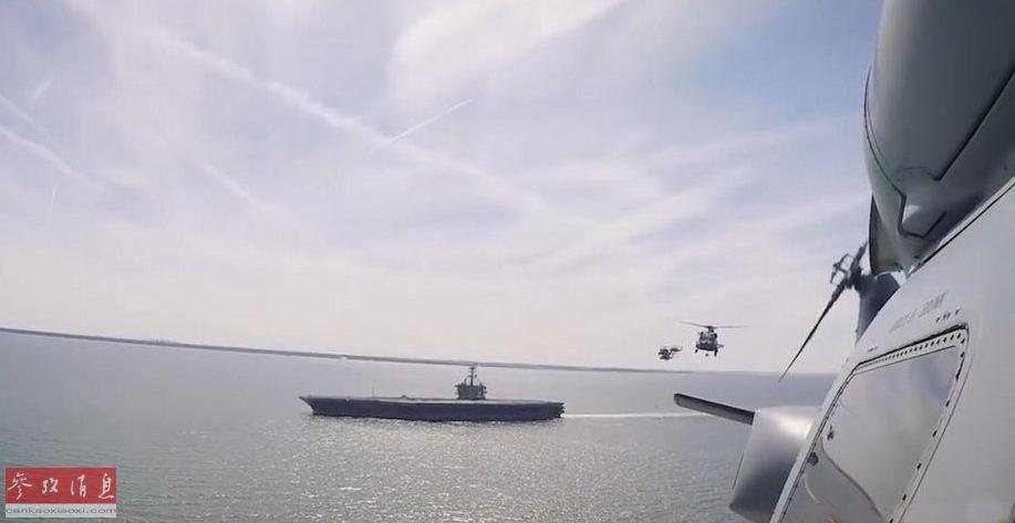 """MH-60K直升机群在距离""""林肯""""号航母不远的海空域展开演练。"""